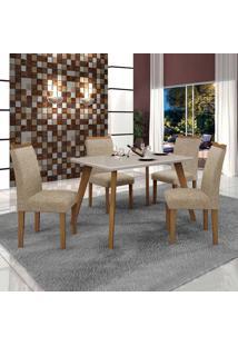 Conjunto De Mesa De Jantar Lavinia Com 4 Cadeiras Pampulha Ii Linho Imbuia Mel Off White