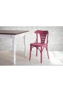 Cadeira De Madeira Para Churrasqueira Torneada Com Encosto E Assento Anatômico Lilás Augustine - 45X50,5X83 Cm
