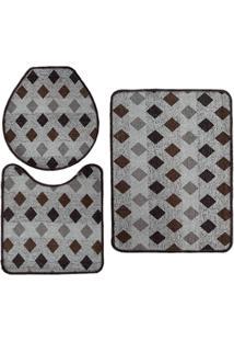 Jogo De Tapete Para Banheiro Pratik 3 Peã§As Mosaico Marrom Oasis - Multicolorido - Dafiti