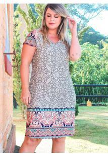 Vestido Curto Almaria Plus Size Fact Jeans Estampa