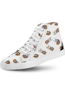 Tênis Cano Alto Usthemp Long Vegano Dog Beagle Branco