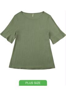 Blusa Com Manga Curta Diferenciada Verde