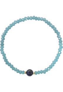 Pulseira Piuka Acessórios Lary Cristais Turquesas Pedra Lazuli Banhada A Ouro 18K Turquesa