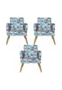 Conjunto 3 Poltronas Decorativa Com Rodapé Nina Triângulo Azul