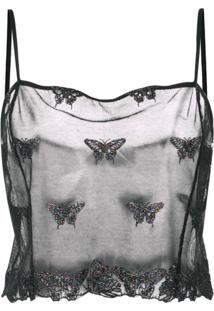 Fleur Du Mal Blusa Com Bordado Translúcido - Preto