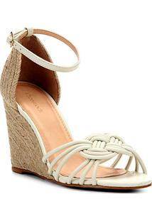 Sandália Anabela Shoestock Nó Marinheiro Corda Feminina - Feminino-Off White