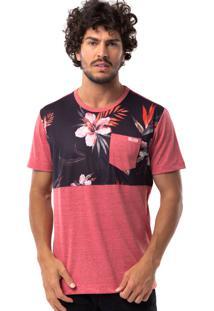 Camiseta Long Island Hibiscos Vermelha