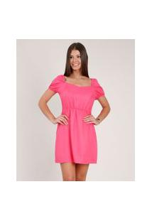 Vestido Feminino Curto Manga Bufante Rosa