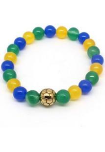 Pulseira Vanglore Bola Dourada Verde, Amarela E Azul