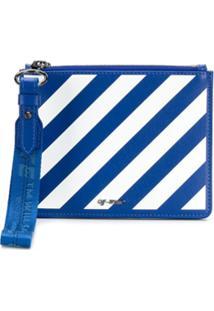 Off-White Clutch Com Listras Diagonais - Azul