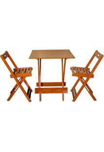 Jogos De Mesas Bar 70X70 Com 2 Cadeiras Dobrável Mel - Btb Móveis