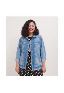Jaqueta Jeans Minnie Curve & Plus Size Azul