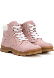 Geox Kids Ankle Boot Com Cadarço - Rosa