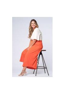 Calça Almaria Plus Size Munny Pantacourt Lisa Laranja