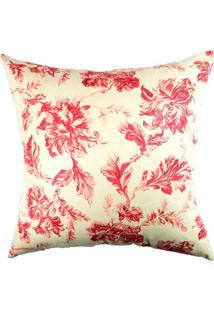 Capa De Almofada Floral- Off White & Vermelha- 42X42Stm Home