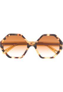 Chloé Eyewear Óculos De Sol Oversized - Marrom