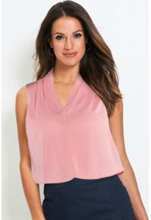 Blusa Decote V Com Pregas Rosa