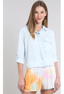 Camisa Jeans Feminina Com Bolso Manga Longa Azul Claro