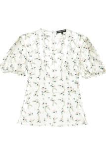 Markus Lupfer Blusa Translúcida Com Bordado Floral - Branco