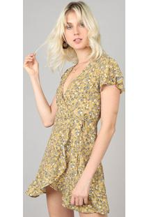 Vestido Feminino Envelope Estampado Floral Amarelo