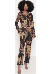 Macacão Floral Com Botões - Preto & Marrom - Wool Liwool Line