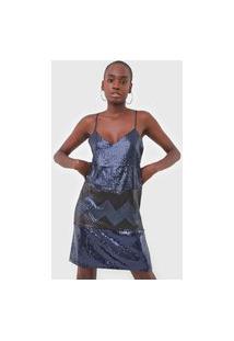 Vestido Desigual Curto Rupit Azul-Marinho