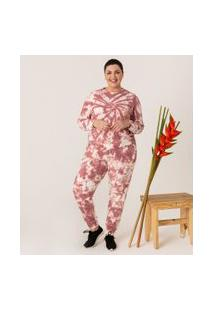 Calça Jogger Em Moletom Tie Dye Comfy Plus & Curve Size | Ashua Curve E Plus Size | Rosa | G