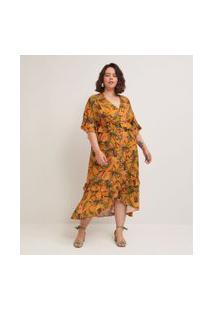 Vestido Midi Em Viscose Estampa Abacaxis Com Barra Assimétrica Curve & Plus Size | Ashua Curve E Plus Size | Amarelo | Eg