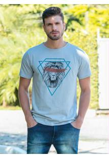 Camiseta Cinza Com Estampa Frontal De Leão