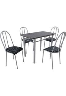 Conjunto De Mesa Genebra Com 4 Cadeiras Alicante Branco Liso E Preto Floral