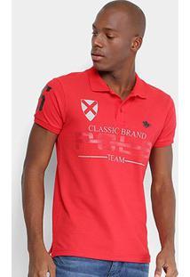 Camisa Polo Rg 518 Piquet Estampada Bordado Masculina - Masculino-Vermelho