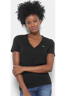 Camiseta Lacoste Decote V Feminina - Feminino-Preto