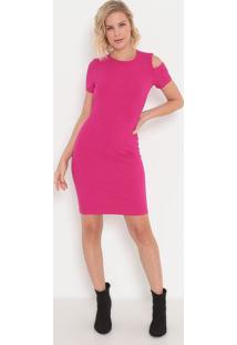 Vestido Canelado Com Vazado- Pink- Sommersommer