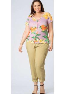 Blusa Almaria Plus Size Munny Estampada Canelada R