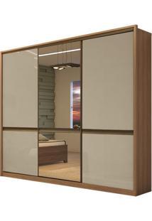 Guarda Roupa Urban Glass 3 Portas Carvalho Naturale/Off White/Carvalho