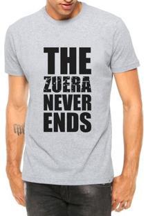 Camiseta Criativa Urbana Engraçadas The Zueira Never Ends Manga Curta - Masculino-Cinza
