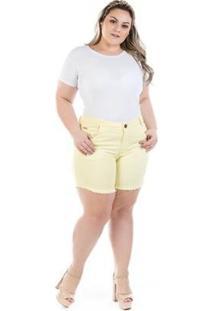 Shorts Feminino Jeans Confidencial Extra Médio Cintura Alta Plus Size - Feminino-Amarelo
