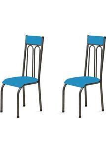 Kit 2 Cadeiras Anatômicas 0.120 Estofada Craqueado/Azul - Marcheli