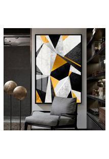 Quadro 150X100Cm Abstrato Veckrat Geométrico Vidro Cristal Moldura Preta Decorativo Interiores