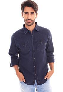 Camisa Convicto Slim Bolso Com Recorte Jeans