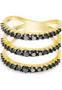 Anel Ouro Amarelo E Diamantes Negros