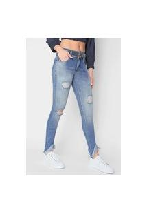 Calça Jeans Zune Skinny Destroyed Azul