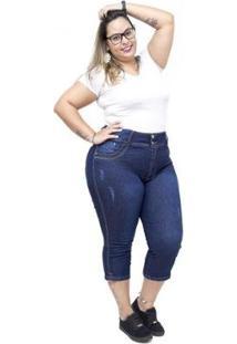 Calça Jeans Latitude Plus Size Cropped Adrilani Latitude Jeans Feminina - Feminino-Azul