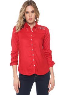 Camisa Enfim Bordada Vermelha