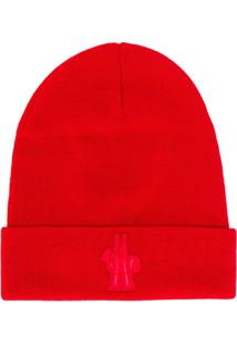 Moncler Grenoble Gorro Com Logo Bordado - Vermelho