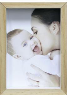 Porta-Retrato Wood Natural E Branco 12X17Cm