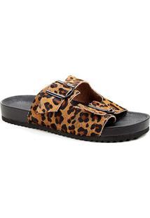 Rasteira Couro Shoestock Tiras Duplas Fivela - Feminino-Onça