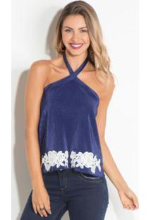6229348f2 Blusa Azul Frente Unica feminina | Shoelover