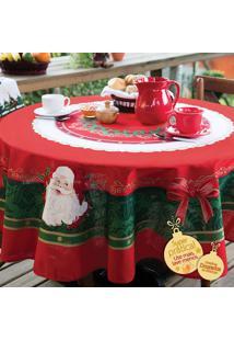 Toalha De Mesa Redonda Natal Lepper 155Cm 4 Lugares Vermelha