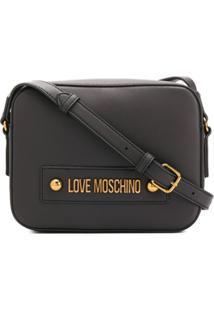 Love Moschino Logo Plaque Adjustable Strap Satchel Bag - Preto